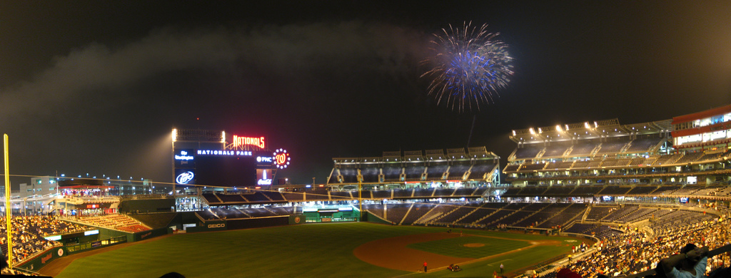 Rare fireworks above Nationals Park in Washington D.C.. Photo by Randomduck.