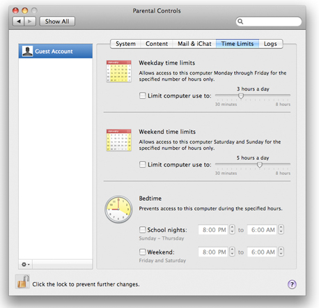 The Parental Controls panel in Mac OS X.