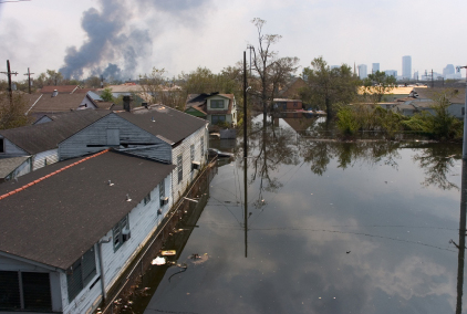 Flooded Lake Forest area of New Orleans after Hurricane Katrina.