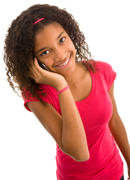 African ethnicity teenage girl on phone